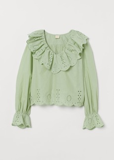 H&M H & M - Blouse with Eyelet Embroidery - Green