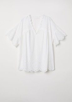 H&M H & M - Blouse with Eyelet Embroidery - White