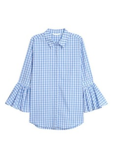 H&M H & M - Blouse with Flounced Sleeves - Blue