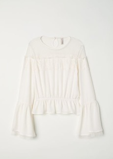 H&M H & M - Blouse with Lace - White