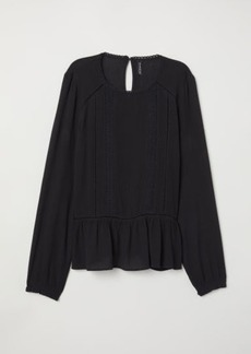 H&M H & M - Blouse with Lace Details - Black