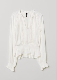 H&M H & M - Blouse with Lace Details - White