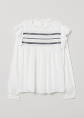 H&M H & M - Blouse with Lace Trim - White