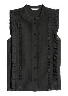 H&M H & M - Blouse with Pin-tucks - Black
