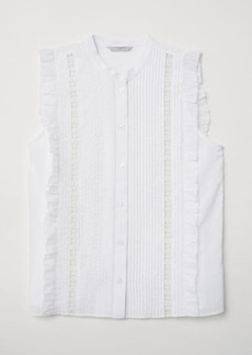 H&M H & M - Blouse with Pin-tucks - White