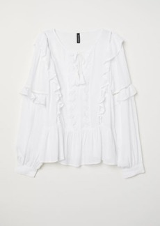 H&M H & M - Blouse with Ruffle - White