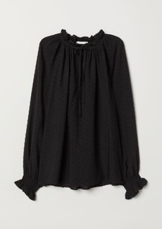 H&M H & M - Blouse with Smocking - Black