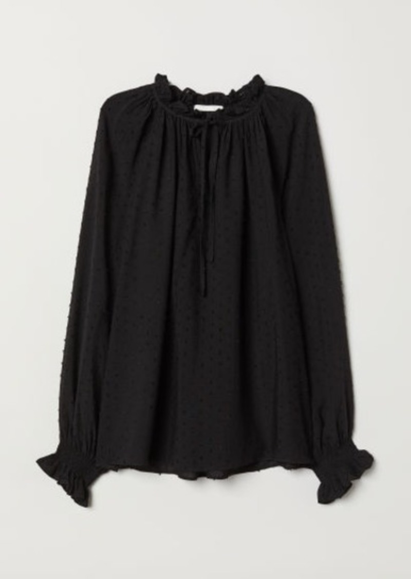 H&M H & M - Blouse with Smocking - Black