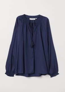H&M H & M - Blouse with Smocking - Blue