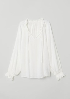 H&M H & M - Blouse with Smocking - White