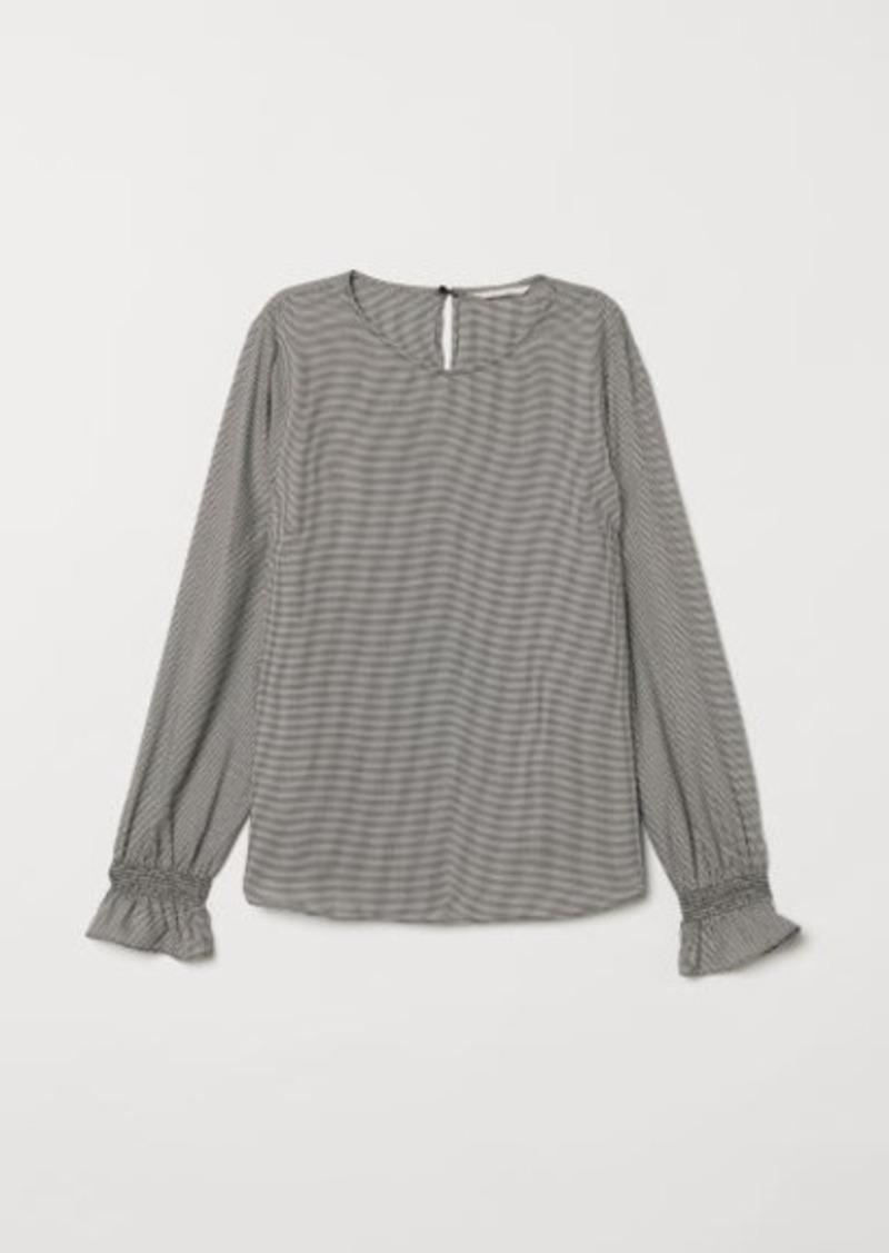 H&M H & M - Blouse with Smocking - White