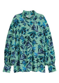 H&M H & M - Blouse with Stand-up Collar - Green