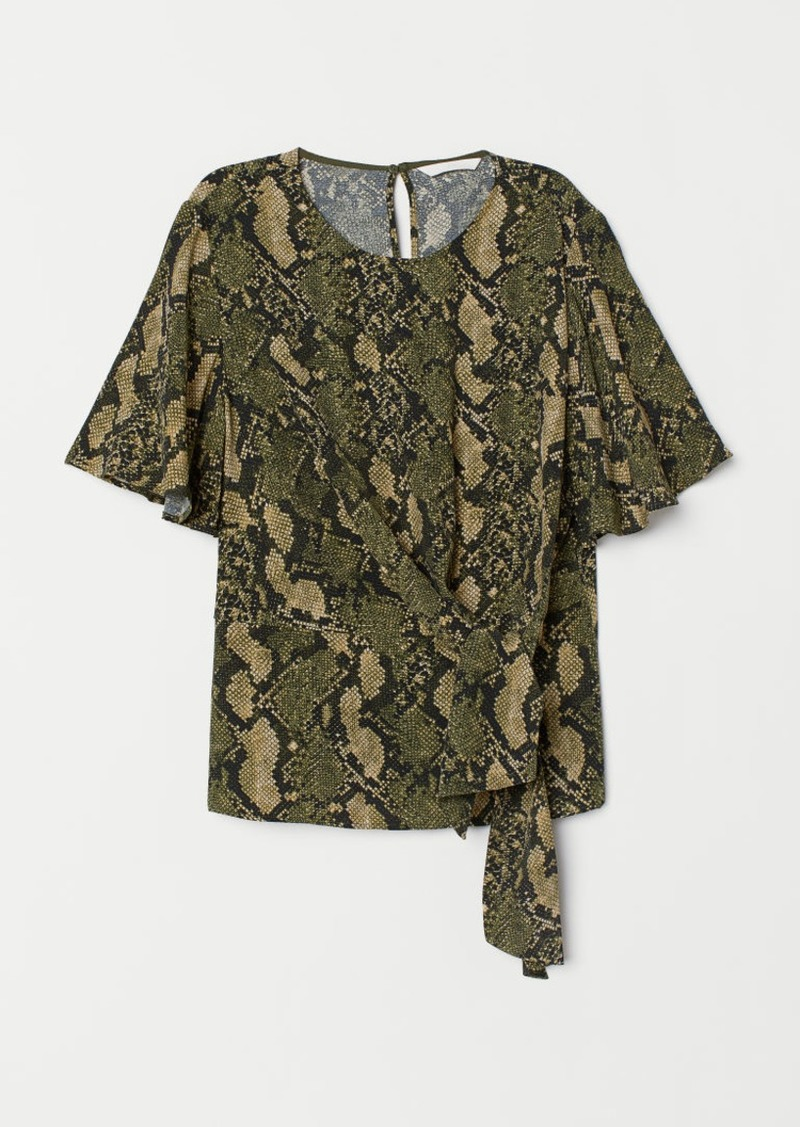 H&M H & M - Blouse with Tie Detail - Green