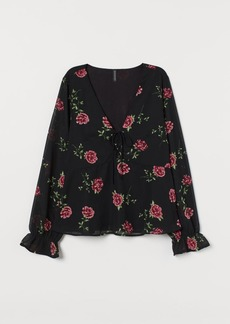H&M H & M - Blouse with Ties - Black