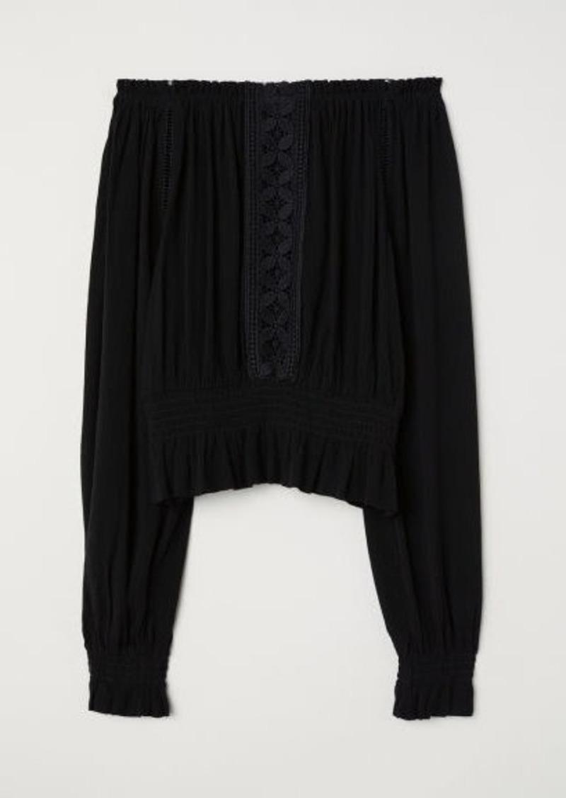H&M H & M - Crinkled Blouse - Black