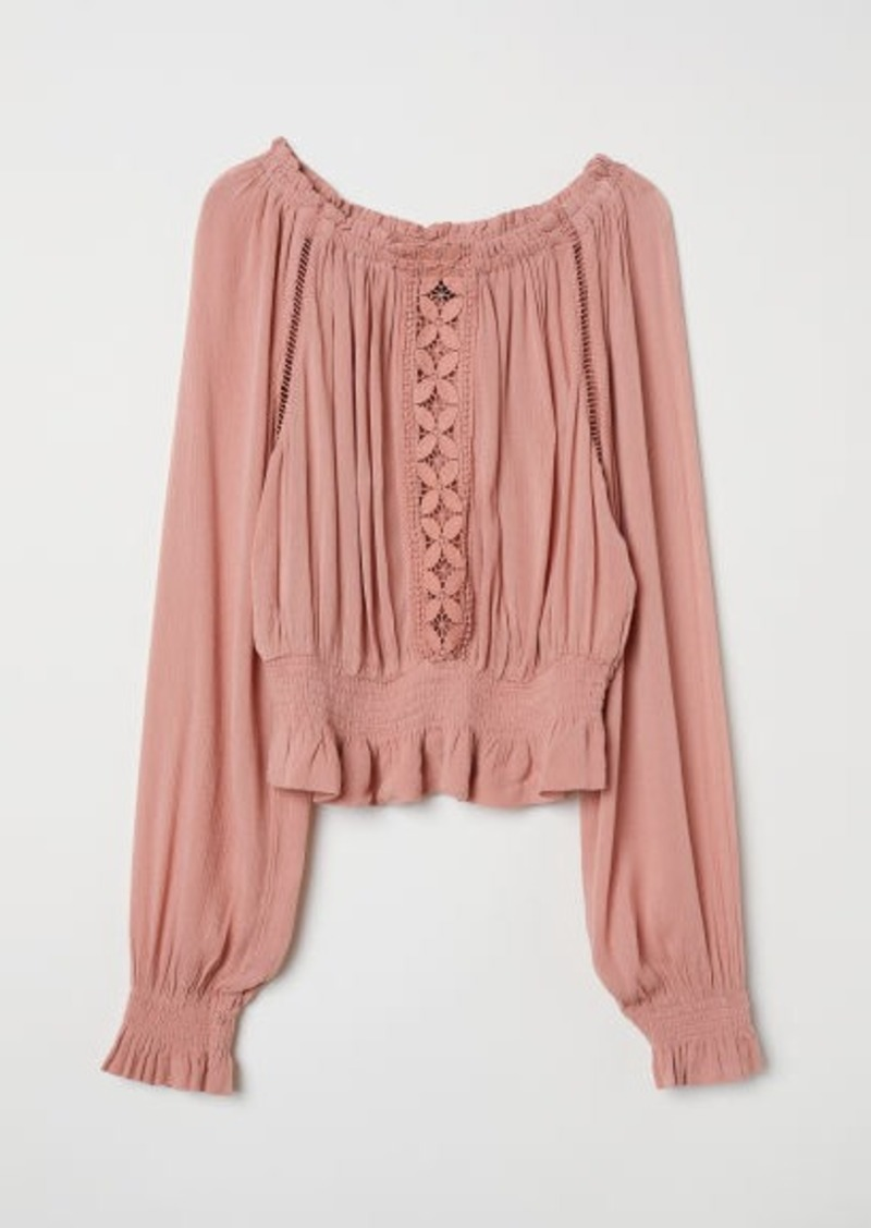 H&M H & M - Blouse with Wide Neckline - Orange