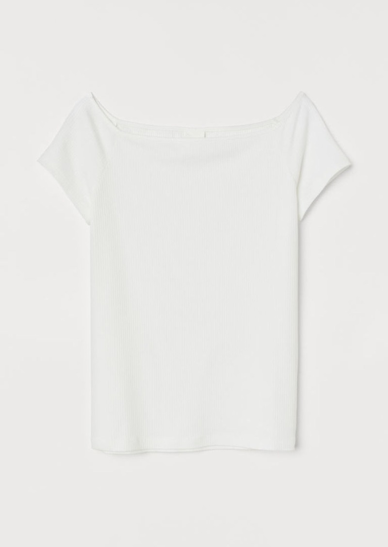 H&M H & M - Boat-neck Jersey Top - White