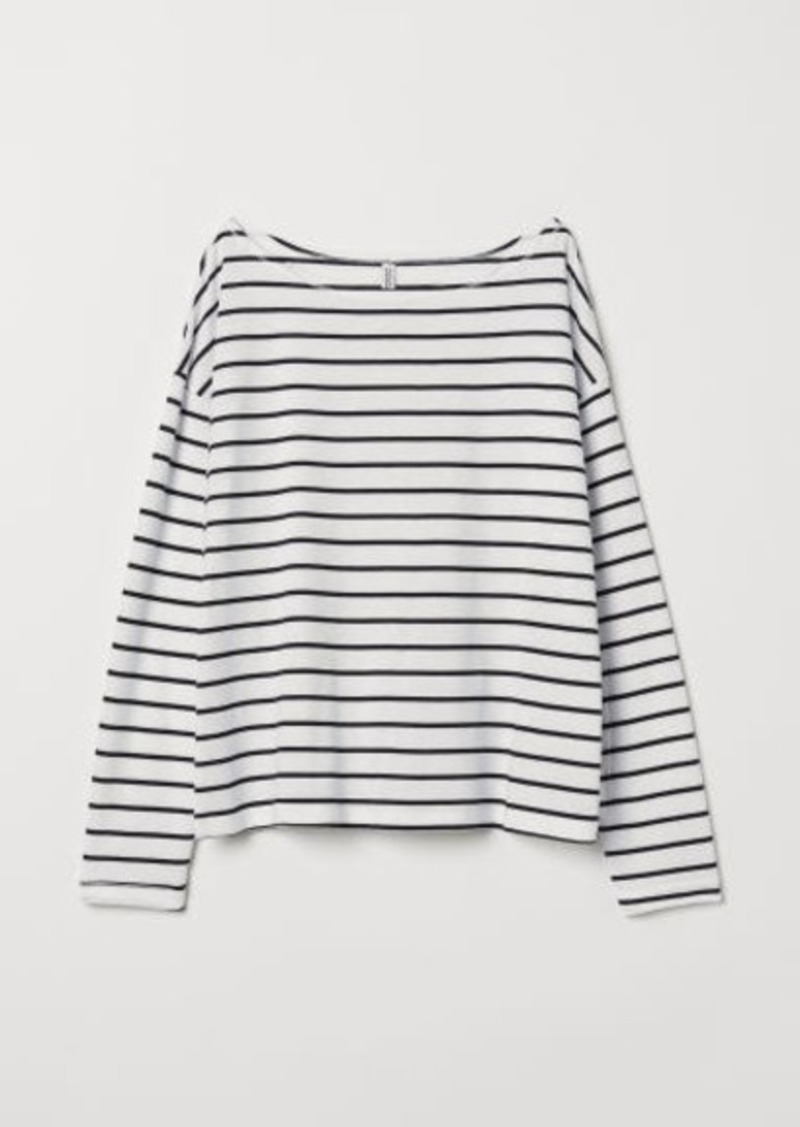 H&M H & M - Boat-necked Jersey Top - White