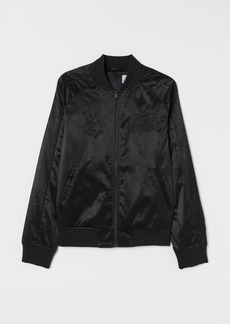 H&M H & M - Bomber Jacket with Embroidery - Black