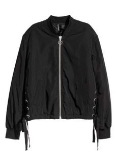 H&M H & M - Bomber Jacket with Lacing - Black