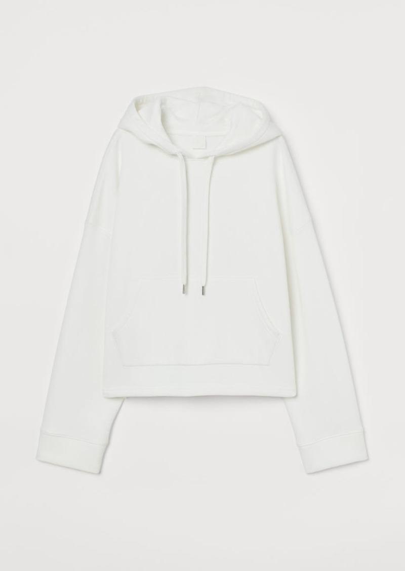 H&M H & M - Boxy Hoodie - White