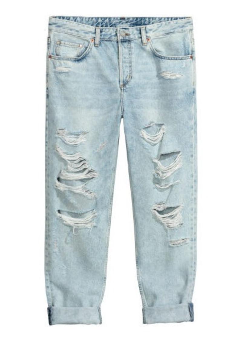 df0e252735d H&M H & M - Boyfriend Low Ripped Jeans - Blue | Denim