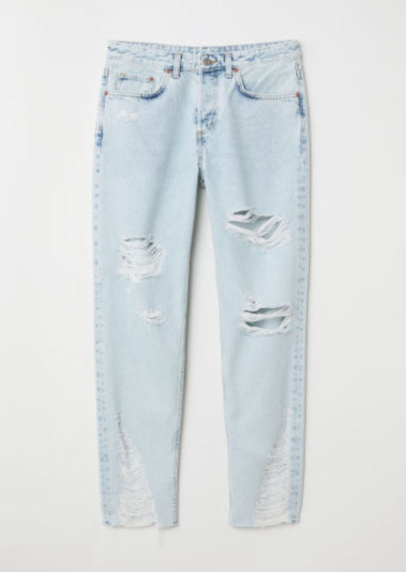 H&M H & M - Boyfriend Low Ripped Jeans - Blue
