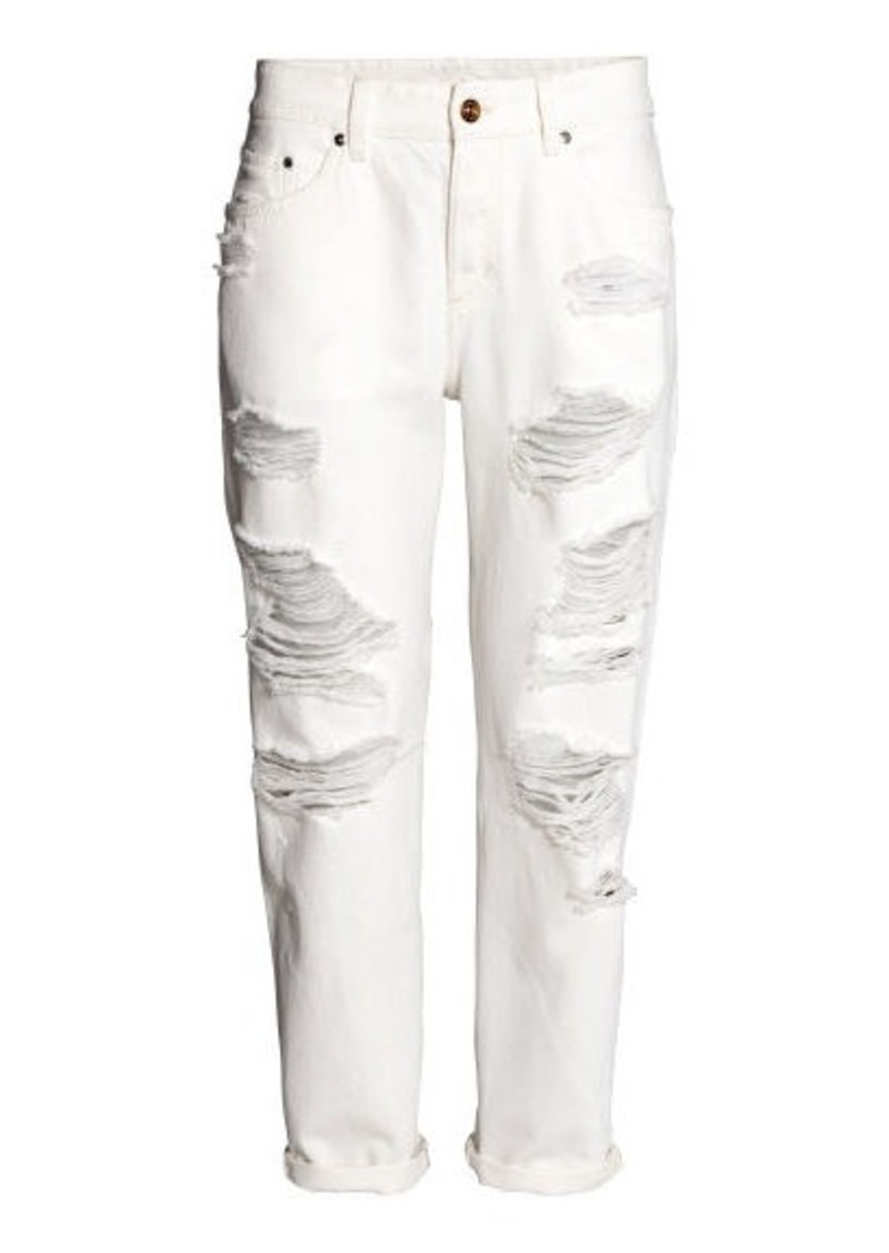 buy real terrific value attractive & durable H & M - Boyfriend Low Ripped Jeans - White