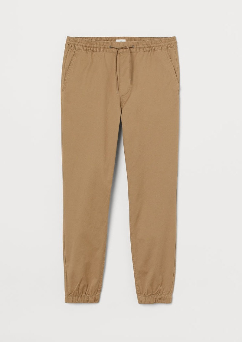 H&M H & M - Brushed Cotton Twill Joggers - Beige