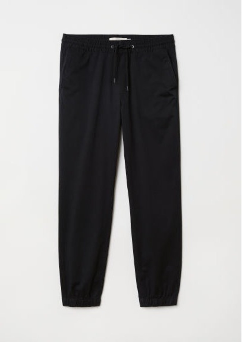 H&M H & M - Brushed Cotton Twill Joggers - Black