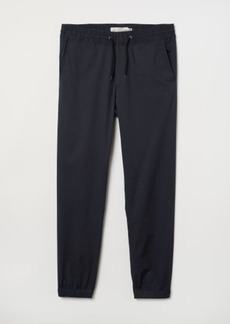 H&M H & M - Brushed Cotton Twill Joggers - Blue