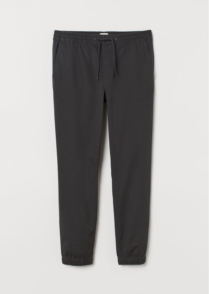 H&M H & M - Brushed Cotton Twill Joggers - Gray