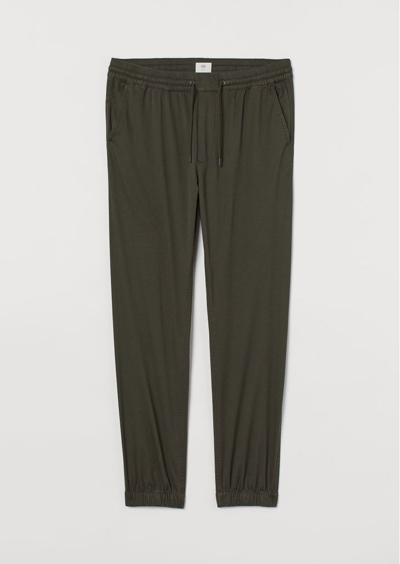 H&M H & M - Brushed Cotton Twill Joggers - Green
