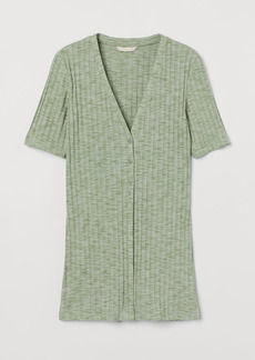 H&M H & M - Button-detail Ribbed Top - Green