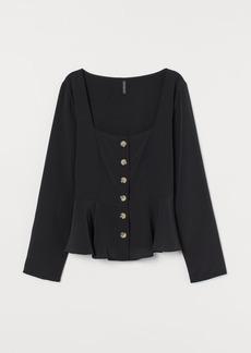 H&M H & M - Button-front Blouse - Black
