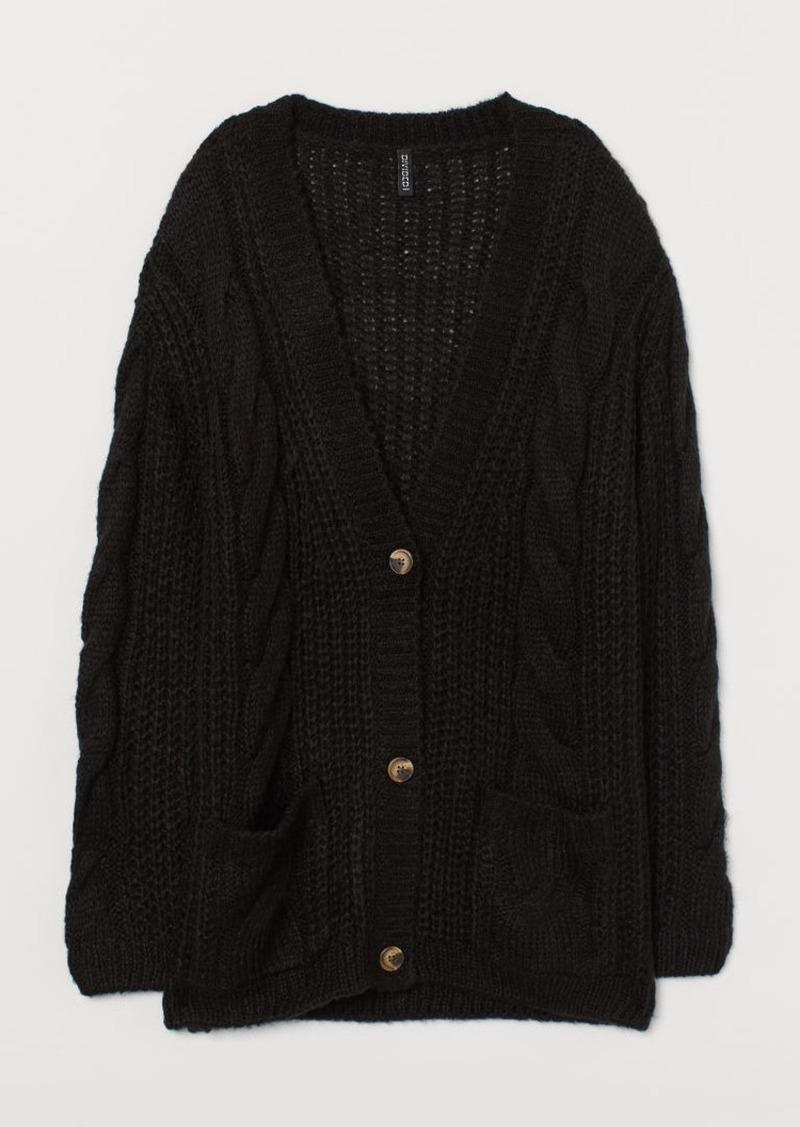 H&M H & M - Cable-knit Cardigan - Black