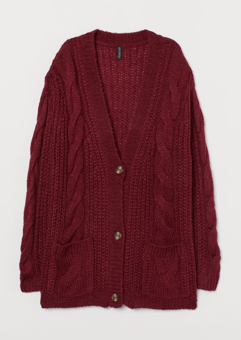 H&M H & M - Cable-knit Cardigan - Red