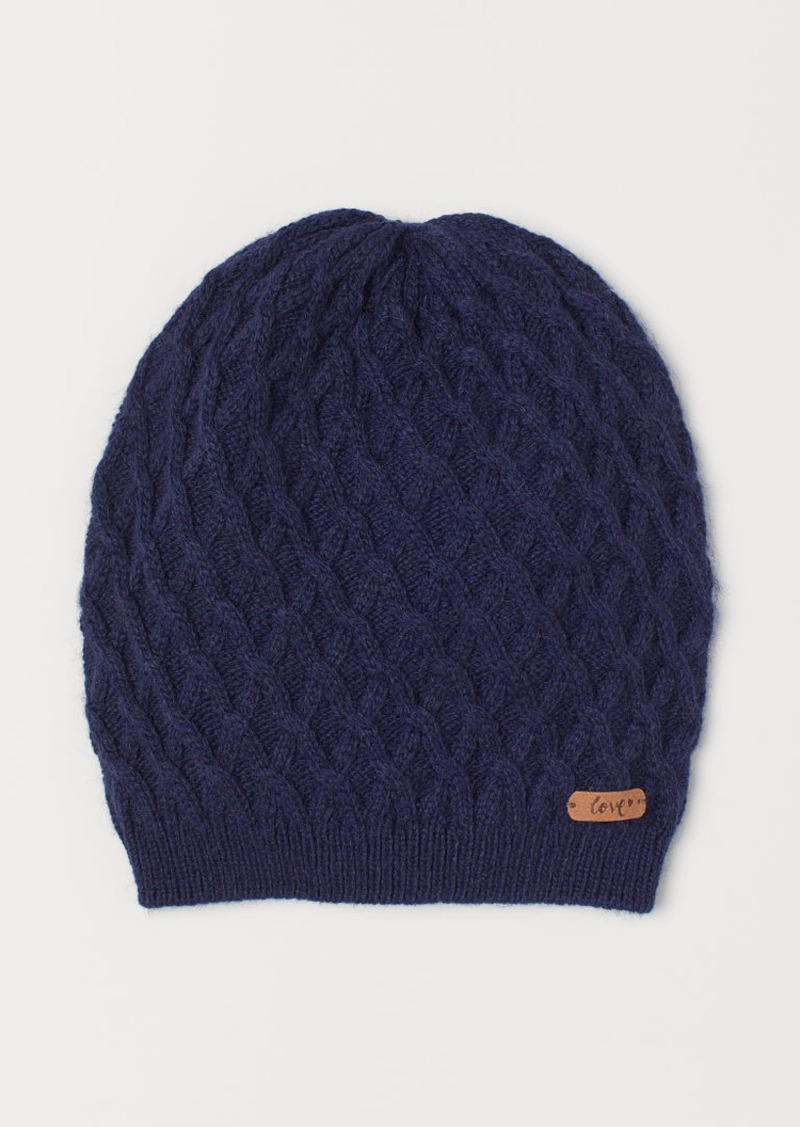 H&M H & M - Cable-knit Hat - Blue