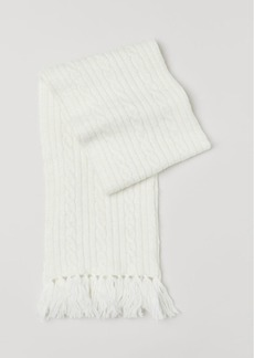 H&M H & M - Cable-knit Scarf - White