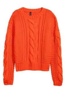 H&M H & M - Cable-knit Sweater - Orange