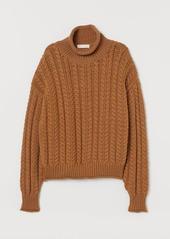 H&M H & M - Cable-knit Turtleneck Sweater - Beige