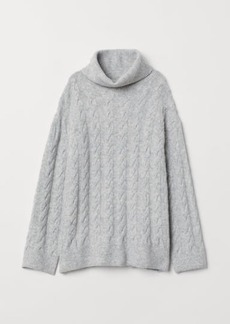 H&M H & M - Cable-knit Turtleneck Sweater - Gray