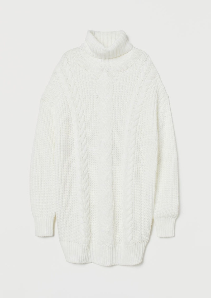 H&M H & M - Cable-knit Turtleneck Sweater - White