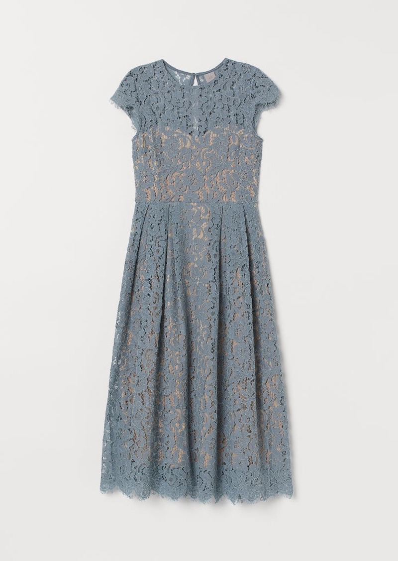 H&M H & M - Calf-length Lace Dress - Turquoise