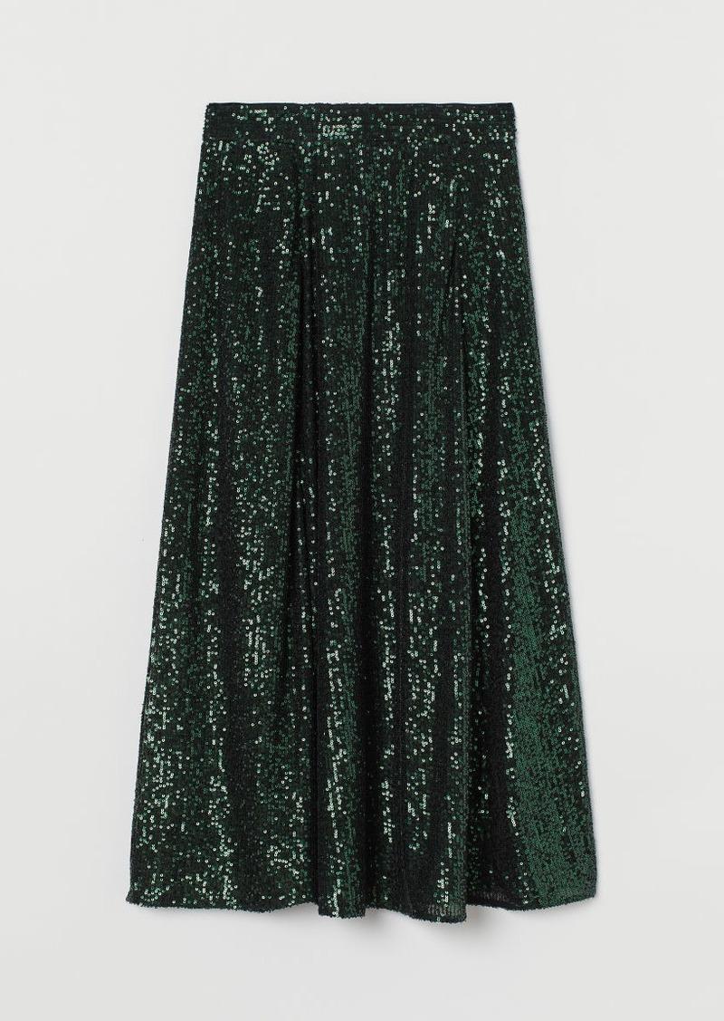 H&M H & M - Calf-length Sequined Skirt - Green