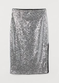 H&M H & M - Calf-length Sequined Skirt - Silver