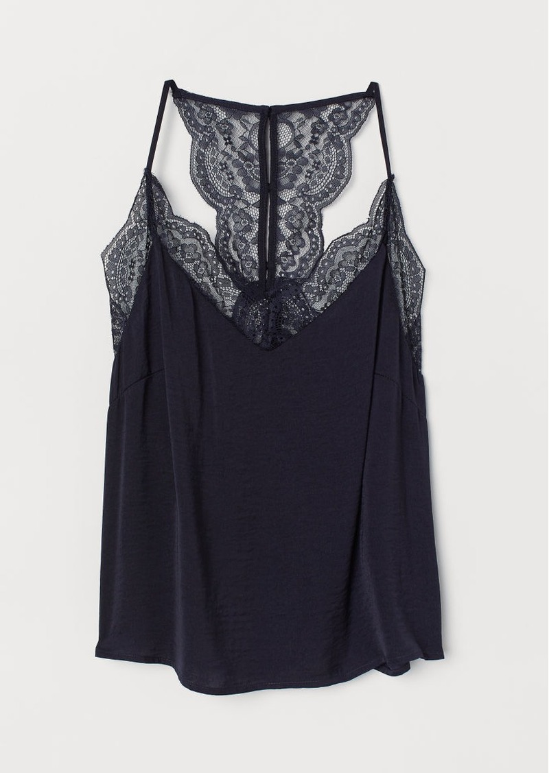 H&M H & M - Camisole Top with Lace - Blue