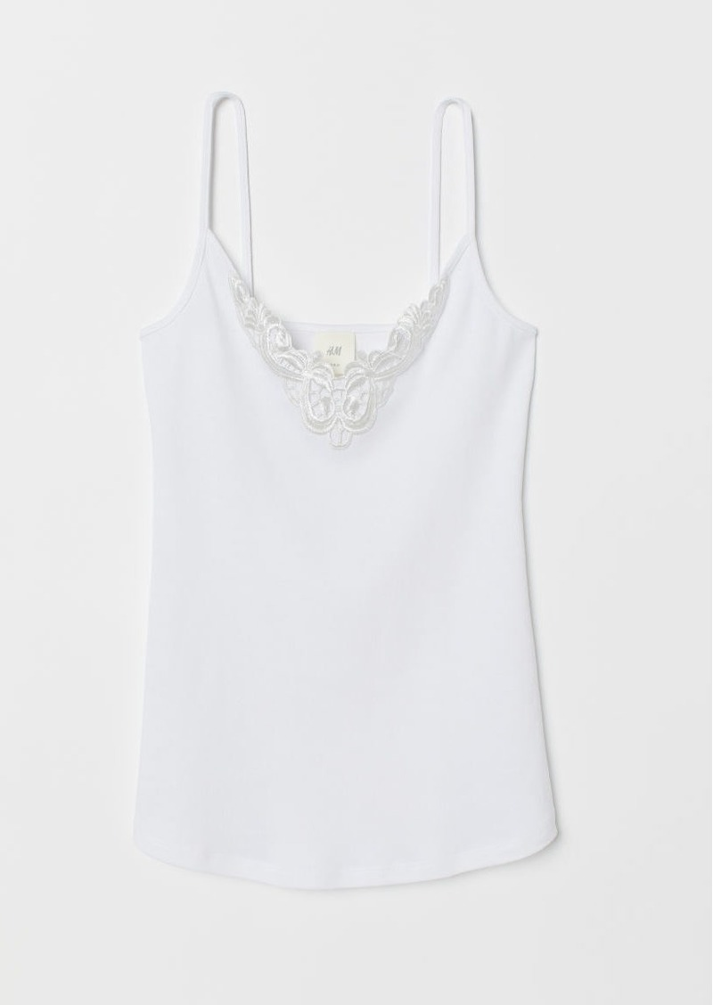 H&M H & M - Camisole Top with Lace - White