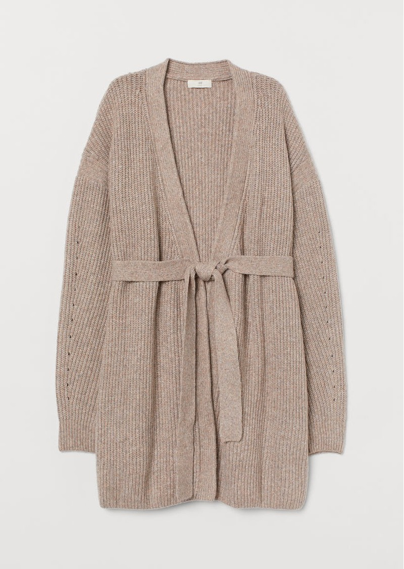H&M H & M - Cardigan with Tie Belt - Brown