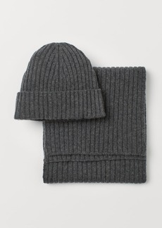 H&M H & M - Cashmere-blend Hat and Scarf - Gray